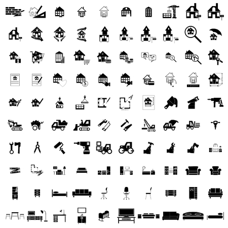 sell: 100 house simple icons set for web and mobile devices Illustration
