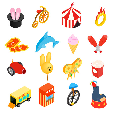 circus caravan: Circus isometric 3d icons set for web and mobile devices