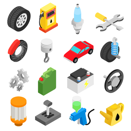 fix gear: Car service maintenance isometric 3d icons set for web and mobile devices