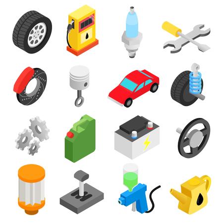 engranajes: Iconos de servicio de mantenimiento del coche isom�trica en 3D fijados para dispositivos m�viles y web