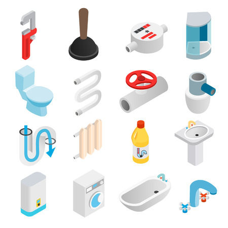 3d icons: Sanitary engineering isometric 3d icons set for web and mobile devices Illustration