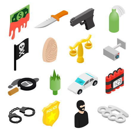 safety officer: Crime isometric 3d icons set for web and mobile devices