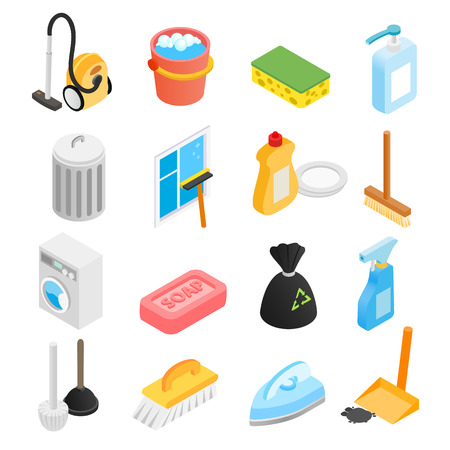 house cleaner: Cleaning isometric 3d icons set for web and mobile devices