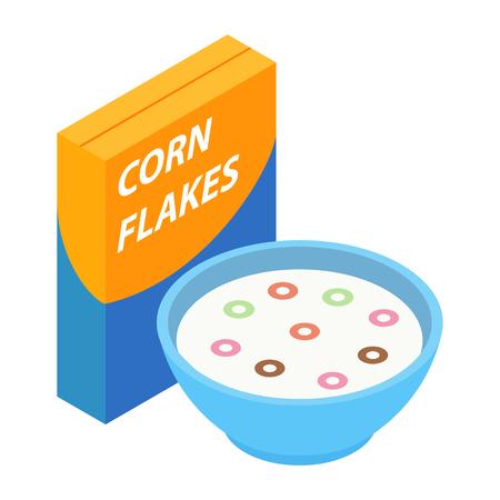 corn flakes: Corn flakes breakfast isometric 3d icon isolated on white background Illustration
