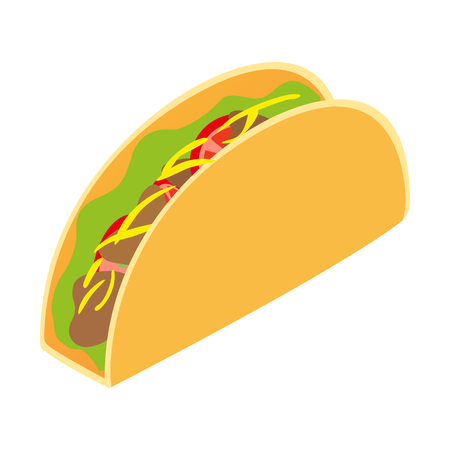ground beef: Mexican taco isometric 3d icon isolated on white background Illustration