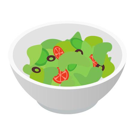 ensalada tomate: Bol de ensalada icono isométrico 3d aislado en el fondo blanco