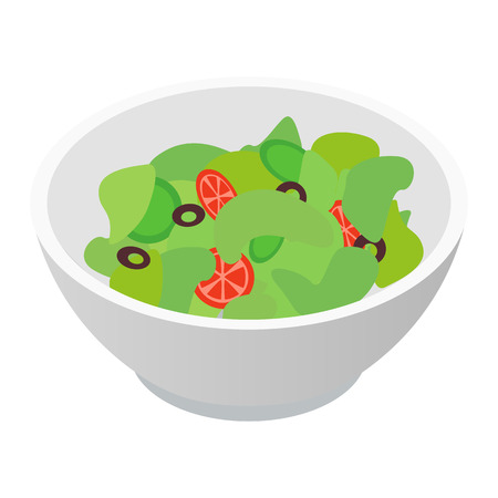 vegetable salad: Bowl of salad isometric 3d icon isolated on white background