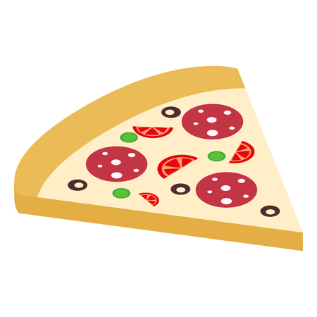 3d pizza: Salami pizza slice isometric 3d icon isolated on white Illustration