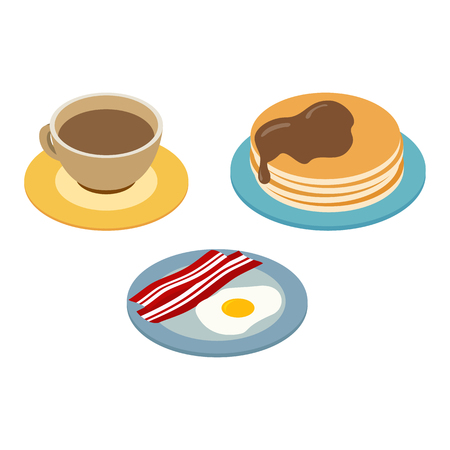 Breakfast isometric 3d icon for web and mobile devices Stock Illustratie