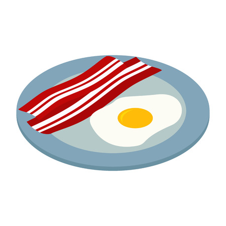 fried egg with bacon isometric 3d icon isolated on white background