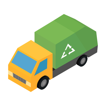Garbage truck isometric 3d icon for web and mobile devices Illustration