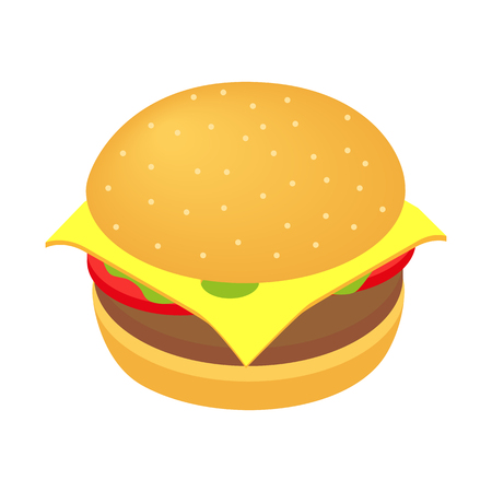 cheese burger: Burger isometric 3d icon isolated on white background
