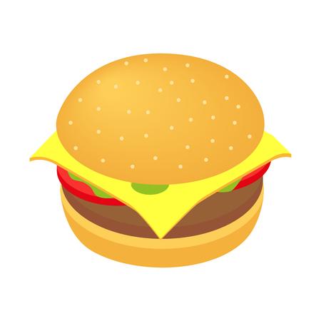hamburguesa: Hamburguesa icono isométrico 3d aislado en el fondo blanco