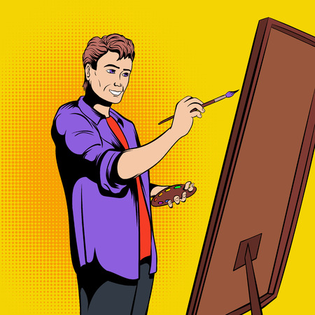 painter palette: Artist painter at work in comics style