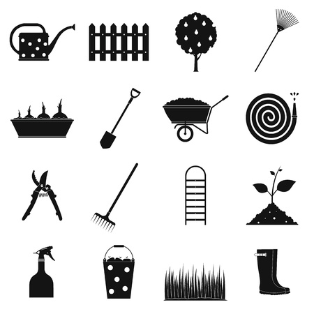botanical garden: 16 garden plain icons set. Black symbols on a white background Illustration