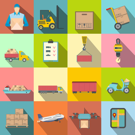 seaport: Logistics flat icons set for web and mobile devices