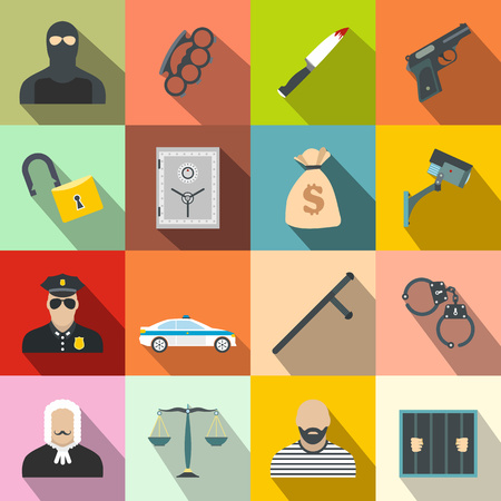 theft proof: Crime flat icons set for web and mobile devices Illustration
