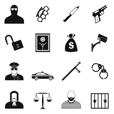 carcel: iconos simples del crimen fijados para dispositivos móviles y web