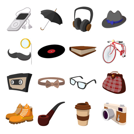 top hat cartoon: 16 hipster style cartoon elements on a white background. With bicycle, glasses, mustache