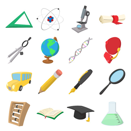 lupa: Education cartoon icons set isolated on white background