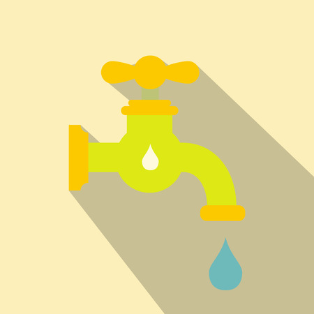 creation of sites: Save water flat icon. Single illustration with water tap and drop Illustration