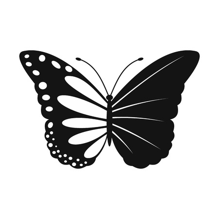 butterfly isolated: Butterfly ecology simple icon isolated on white background
