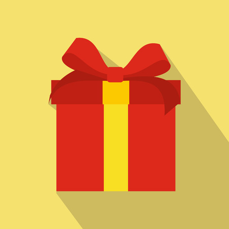 event icon: Red flat present box icon. Colorful christmas symbol on a yellow background