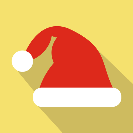 wearing santa hat: Santa hat flat icon. Modern symbol with long shadow on a light background