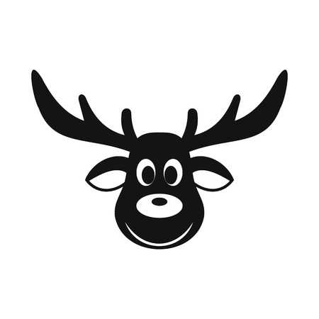 Deer christmas simple icon isolated on white background 일러스트