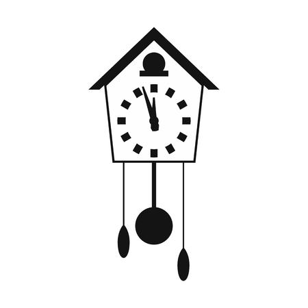 reloj cucu: Reloj de cuco simple icono aislado en fondo blanco Vectores