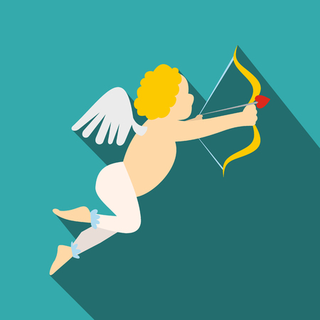 cupid: Valentine day cupid flat icon. Love angel modern symbol on a blue background