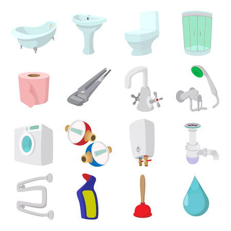 sanitary engineering: Sanitary engineering cartoon icons isolated on white background