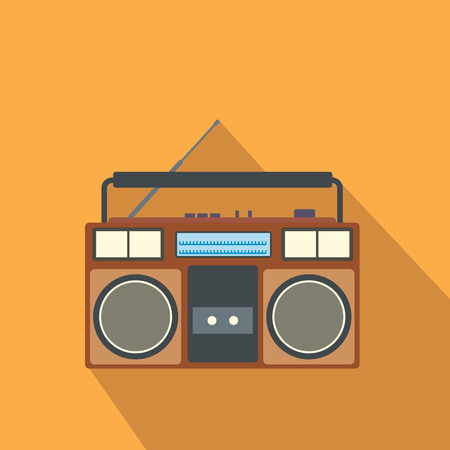 boombox: Boombox flat icon. Single illustration on a orange background