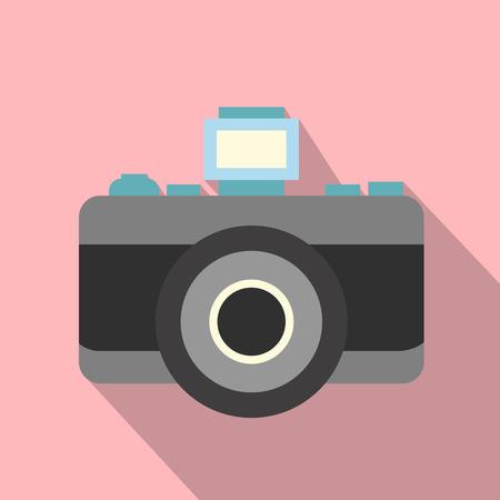 macchina fotografica: icona piatto Retro macchina fotografica su uno sfondo rosa