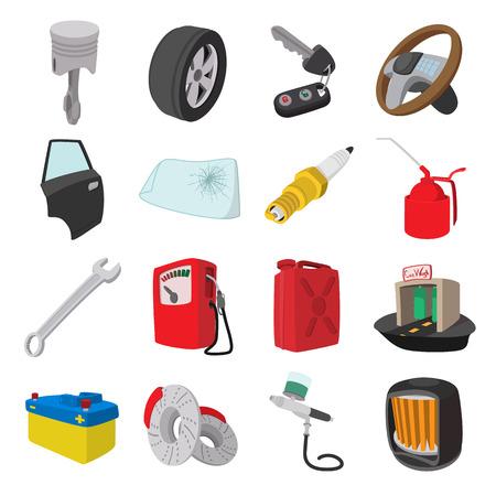 Car service maintenance cartoon icons set isolated on white background