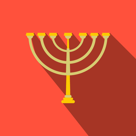 Gold hanukkah menorah flat icon. Illustration with a long shadow