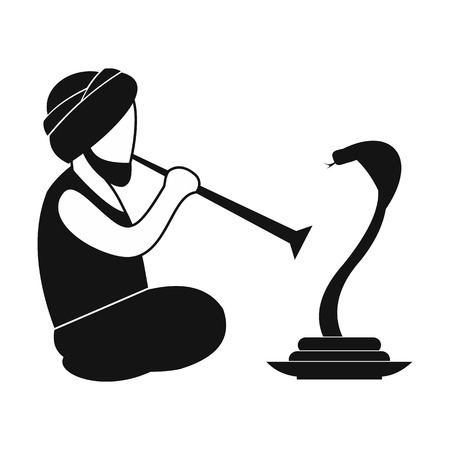 hypnotize: Snake-charmer simple icon isolated on white background