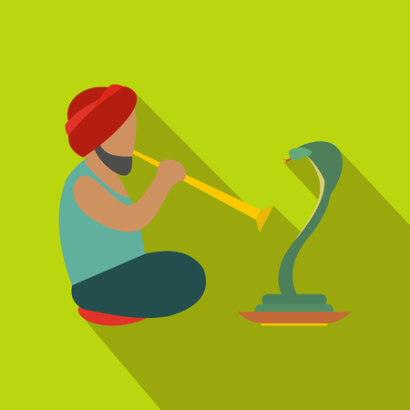 charmer: Snake-charmer flat icon. Modern symbol of charmer on a green background