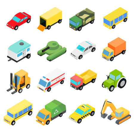 automobile: Types of automobiles isometric icons set. Illustration of different types of cars