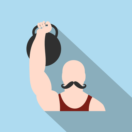 circus performer: Retro circus athlete flat icon. Strong circus performer.  Symbol with long shadow Illustration