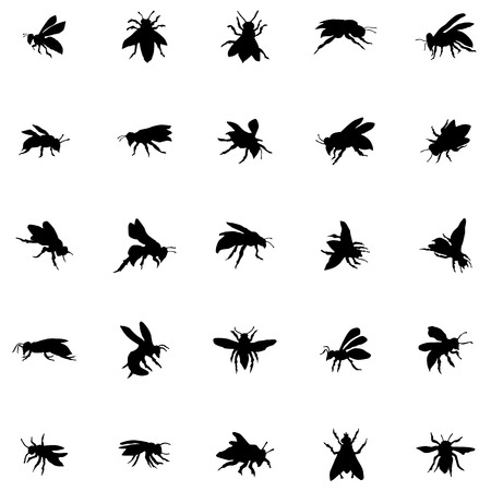 worker bees: Bee silhouettes set isolated on white background