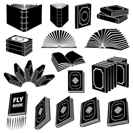 tienda de ropa: Libro sencillo conjunto de iconos aislados sobre fondo blanco