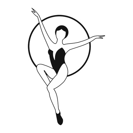 trapeze: Woman trapeze artist simple icon. Air gymnast on the hoop Illustration