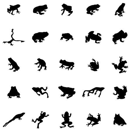 Kikker silhouetten die geïsoleerd op een witte achtergrond Stock Illustratie