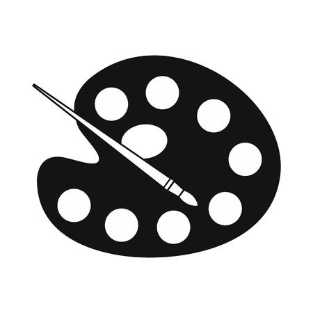 pallette: Palette avec une brosse simple icône isolé sur fond blanc