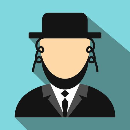 hassid: Rabbi flat icon. Jewish man. Single portrait with long shadow Illustration
