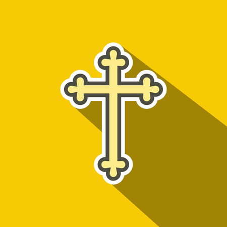cross: Christian cross flat icon. Single illustration on a yellow background