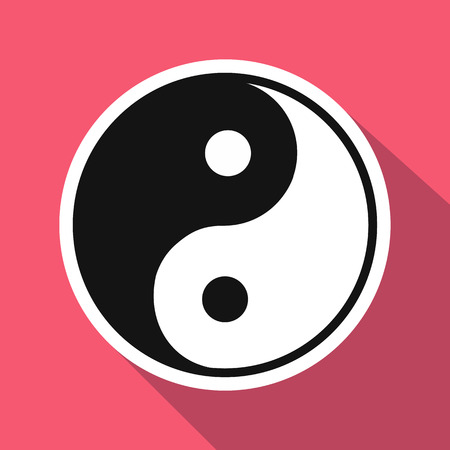 ying and yang: Yin yang flat icon. Single illustration on a pink background