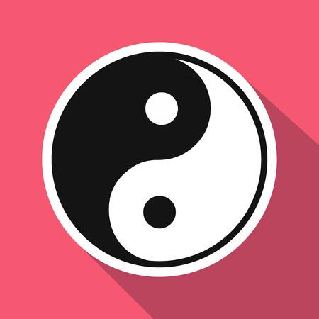 yin y yang: Yin yang icono plana. Ilustración sola sobre un fondo de color rosa