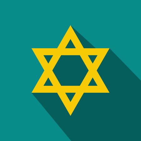 chanukkah: Yellow david star flat icon. Illustration with a long shadow Illustration